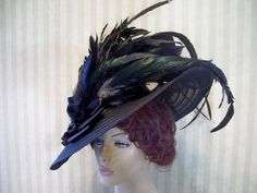 Black Hat with feathers! Love this Hat! I was born in the wrong era!