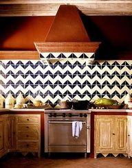 chevron backsplash in a kitchen