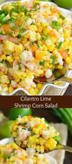 Cilantro Lime Shrimp Corn Salad Wonderful corn salad made with shrimp sweet bell peppers shallots and fresh cilantro and lime flavors It can be simply cooked on stove top. Corn Salad Recipes, Corn Salads, Easy Salads, Vegetable Salads, Shrimp And Corn Recipe, Shrimp Recipes, Shrimp Side Dish, Bell Pepper Salad, Cookout Side Dishes
