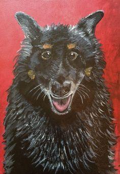 Pistol Dog Acrylic Paint on Canvas  Whimsical Animal Portrait Painting www.berggrenfibers.com