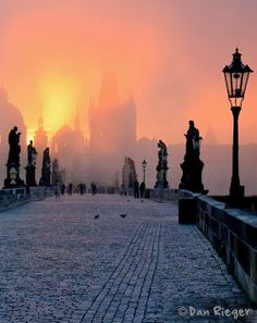Golden Sunset over Charles Bridge, Prague Czech Republic Beautiful Places In The World, Oh The Places You'll Go, Wonderful Places, Places To Travel, Places To Visit, Amazing Places, Charles Bridge, Prague Czech Republic, Where To Go