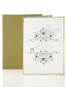 Gold & Blue Floral Design Birthday Card-Marks & Spencer