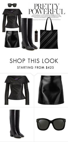 """Pretty Powerful Black Look"" by abstra ❤ liked on Polyvore featuring Ralph Lauren, Philosophy di Lorenzo Serafini, Sergio Rossi, Linda Farrow and Christian Dior"