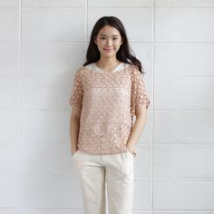 Over-Size Tops Lace Cotton Camomile Tan Color-www.tanbagshop.com