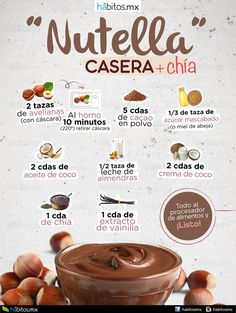 """Homemade """"Nutella"""" in just a few steps … – Health coaching habits - Nutella 2019 Veggie Recipes, Sweet Recipes, Real Food Recipes, Vegetarian Recipes, Cooking Recipes, Yummy Food, Healthy Recipes, Healthy Cooking, Healthy Snacks"""