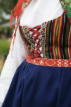 Woman wearing a traditional costume, Dalarna, Sweden.