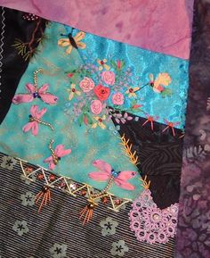 Crazy Embellishment Quilting Silk Ribbon Embroidery | At Crazy Quilting International I am involved in a Round Robin with ...