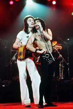 QUEEN • Vocalist, Freddie Mercury and John Deacon on Bass.  Great Shot!