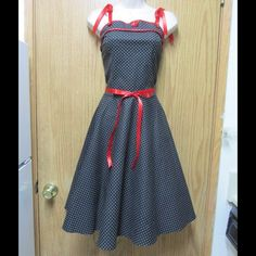 Divine Black Rockabilly Dress W/White Polka Dot