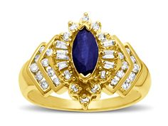 5/8 ct Sapphire and 3/8 ct Diamond Ring in 14K Gold