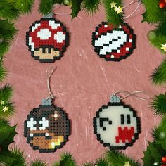 Mario Christmas Baubles hama perler beads by ZoZoTings
