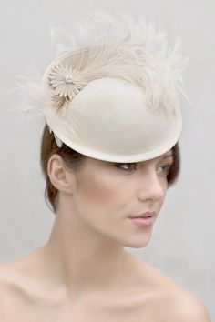 Wedding Feather Saucer Hat, Mini felt Hat, Custom Colours, Occasion Hat, Ascot Hat, Melbourne Cup, Kentucky Derby - Elicia