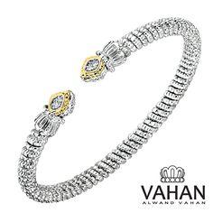 3 mm bracelet made of 14k gold, sterling silver and diamonds. Style # 22013D03 #VAHAN #VahanStyle #Bestseller #Bracelet #Gold #Silver #Diamonds