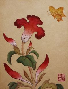 Geisha Art, Korean Art, Traditional Paintings, Ribbon Embroidery, Chinese Style, Rooster, Oriental, Wall Decor, Illustration