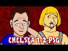 Zlatan stars in amusing Chelsea 1 - PSG 2 cartoon video) Psg, Champions League, Chelsea, Goals, Cartoon, Sports, Fictional Characters, Hs Sports, Cartoons
