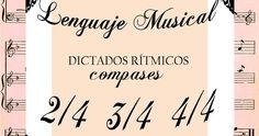 Lenguaje musical: nueve láminas de fichas con dictados rítmicos en compás de 2/4, 3/4 y 4/4