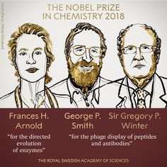 The Nobel Prize -The Royal Swedish Academy of Sciences has decided to award the in Chemistry 2018 with one half to Frances H. Arnold and the other half jointly to George P. Smith and Sir Gregory P. Leicester, Nobel Prize In Chemistry, Evolutionary Biology, Chemical Industry, Academy Of Sciences, Biotechnology, Abd, Bags 2018, Winter