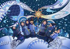 Christmas Drawing, Christmas Art, Ukrainian Christmas, Creative Birthday Cards, Ukrainian Art, Naive Art, Christmas Pictures, Chinese Art, Holidays And Events