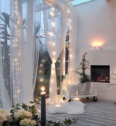So in love with the soft drapes and fairy lights