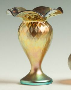 "Steuben Gold Aurene Vase.Early 20th cent. Sgn. Aurene 223. Diamond quilted & ruffled top. Ht. 6 1/2"" W 5 1/2"""