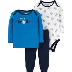 Child of Mine by Carter's Newborn Baby Boy Long Sleeve Shirt, Bodysuit, and Pant Outfit Set, Size: 18 Months, Blue
