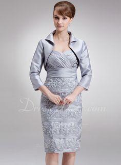 Linjeform Sweetheart Kne-lengde Taft Kjole til brudens mor med Frynse Blonder Paljetter (008006511)