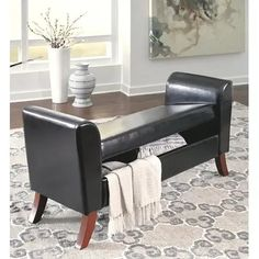 Signature Design By Ashley - Benches Upholstered Storage Bench Regency Furniture, Bench Furniture, Leather Furniture, White Furniture, Furniture Sale, Bedroom Furniture, Upholstered Storage Bench, Bench With Storage, Bedroom Storage