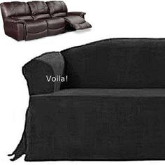 Reclining SOFA T Cushion Slipcover Black Suede Recliner Couch Cover U2022 Sure  Fit Slipcover Specifically Adapted