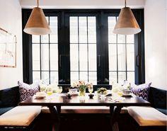 Dining Nook, black framed windows - Lonny Mag - March/April 2011,    Black framed windows.  Do I dare?