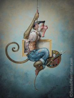 A fantasy surrealist painting by David Merriam of a monkey with art supplies hanging from a rope Art Fantaisiste, Monkey Art, Street Gallery, Whimsical Art, Surreal Art, Oeuvre D'art, Cartoon Drawings, Bunt, Fantasy Art