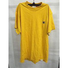 Champion Authentic Yellow Sports Short Sleeve Men'S T-Shirt, Size M