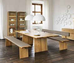 Rustic Modern Dining Room Ideas Wooden Floor Upholstered Bench Dining Set