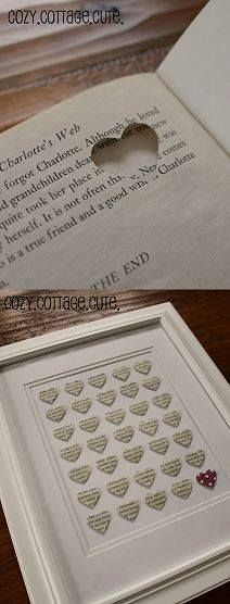 pages of book heart cutouts, framed,