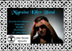 When I am in pain, this is my go to blend. I have used it on my back, knee, head, and it has helped. It is AWESOME~ Migraine Killer Blend $15.00 Essential oils in blend are:  Peppermint Lavender Frankincense St. John's Wort #OldeWorldeRemedies