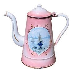 Vintage Enamelware, Rose Cottage, Chocolate Pots, Recycled Crafts, Early American, Pink Blue, Enamel Ware, Kettles, Hand Painted