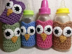 crochet labels personalized | Owl Baby Bottle Sleeves in Five Colors