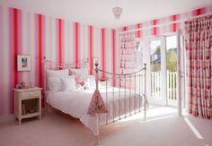 Young Family Home Style with Awesome Interior Design: Beautiful Kids Room Pink Theme Interior Young Family House Striped Walls Bedroom, Pink Striped Walls, Dream Bedroom, Bedroom Wall, Girls Bedroom, Bedrooms, Bedroom Themes, Bedroom Ideas, Pink Themes