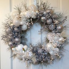 Silver White Christmas Wreath, Winter Holiday Decoration, Glass Ornament Decor, Front Door Seasonal Centerpiece Pinecone Evergreen Wall Gift