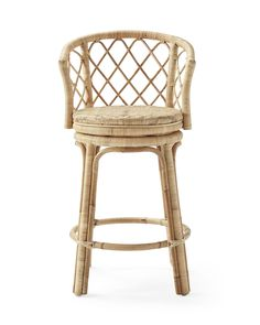 This is all about bringing easy elegance to the counter. Made of hand-shaped, handwoven rattan, it has a natural beauty that relaxes the room. The slender frame features a slight lean for comfort and a woven seat that swivels on a dime.