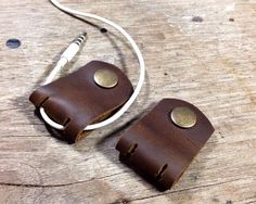 Handmade leather cable holder,Leather Cord, Cable Organizer, Headphone holder, Dark Brown Crazy Horse leather