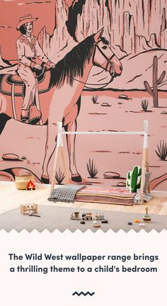 If your budding cowboy or cowgirl needs a fun bedroom or playroom refresh, explore this unique collection of Cowboy Wallpaper. Playroom Wallpaper, Wallpaper Murals, Kids Wallpaper, Wall Murals, Bedroom Themes, Kids Bedroom, Bedroom Ideas, Playroom Decor, Kids Decor