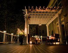 Trex Pergola At Night Patio Gazebo, Pergola Canopy, Diy Pergola, Pergola Kits, Backyard Landscaping, Corner Pergola, Pergola Designs, Deck Design, Landscape Design