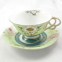 Ucagco Green and Gold Teacup and Saucer--Vintage