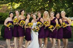 plum dresses and sunflowers