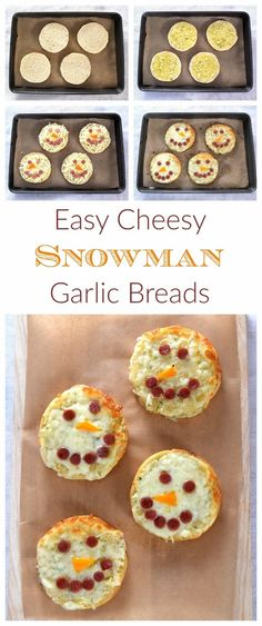 Quick and easy cheese garlic breads recipe - this fun snowman food is perfect for a winter meal for kids or fun party food - Eats Amazing UK