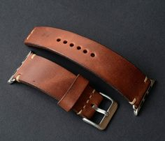 Apple Watch Band. Brown leather watch strap by VladislavKostetskyi
