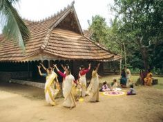 Thiruvathira is a Hindu festival celebrated in Kerala on the full moon day of the month of Dhanu (December or January).  The sinuous movements executed by a group of dancers around a lamp, embody 'lasya' or the amorous charm and grace of the feminine. The dance follows a circular, pirouetting pattern accompanied by clapping of the hands and singing. Thiruvathirakali today is popular dance form for all seasons.