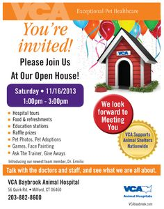 #Connecticut, #VCA Baybrook Animal Hospital is having an open house on 11/16 and you're invited! The event will feature hospital tours, education stations, giveaways and more! Click through for detail! Raffle prizes Pet Photos, Pet Adoptions Games, Face Painting Ask The Trainer session and Give Aways