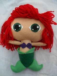 Cute fieltro muñeca Disney princesa Ariel por KurageNeko en Etsy, $15.00