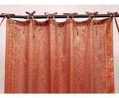 Jazz sari curtain made from an entire sari, the traditional Indian dress.⠀ Peach Curtains, Velvet Curtains, Indian Style Bedrooms, Indian Curtains, 1970s House, Sari Dress, Bohemian Bedroom Decor, Asian Home Decor, Indian Fabric